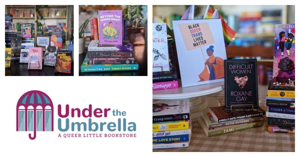 A collage of different book displays with the Under the Umbrella logo.